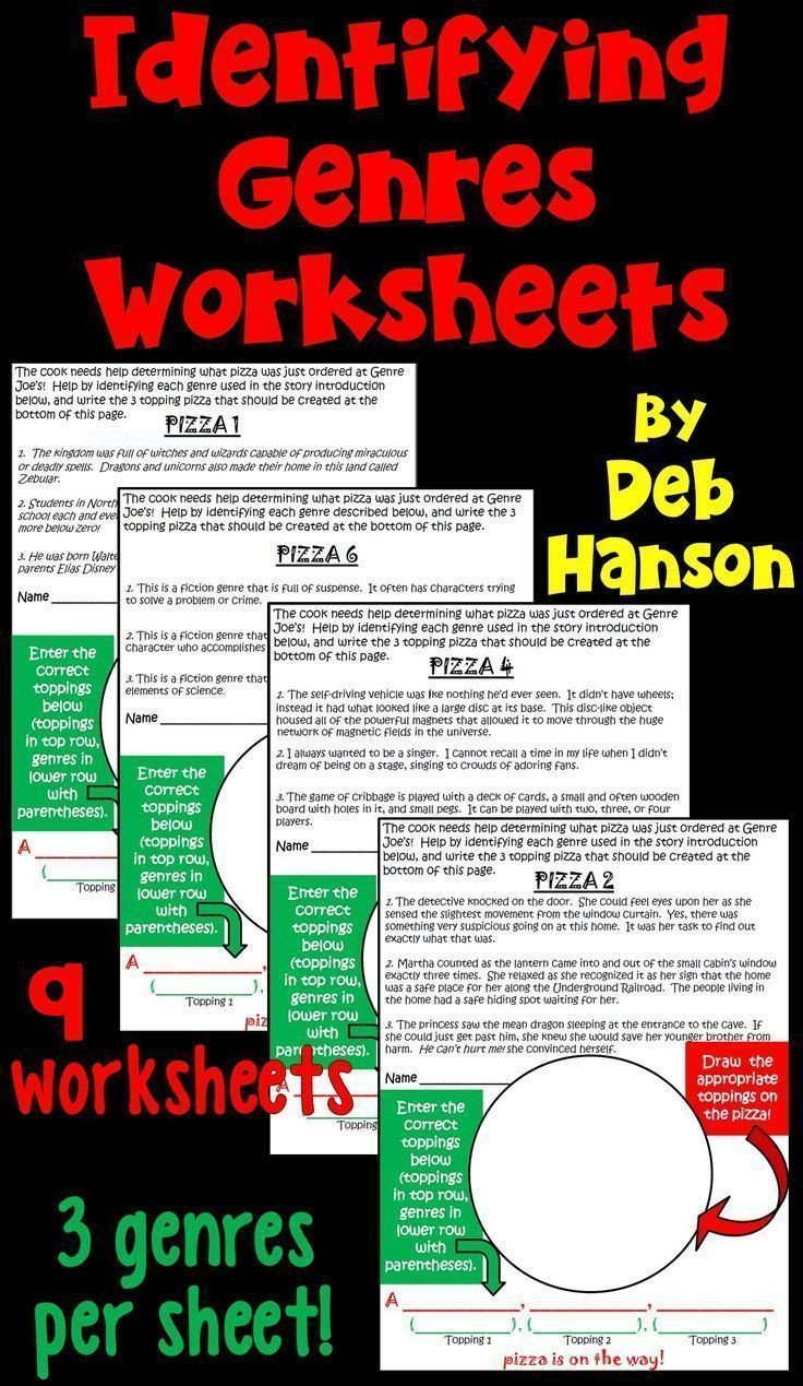 Teaching Genre Worksheets Indentifying Genres Worksheets This Packet Includes 9
