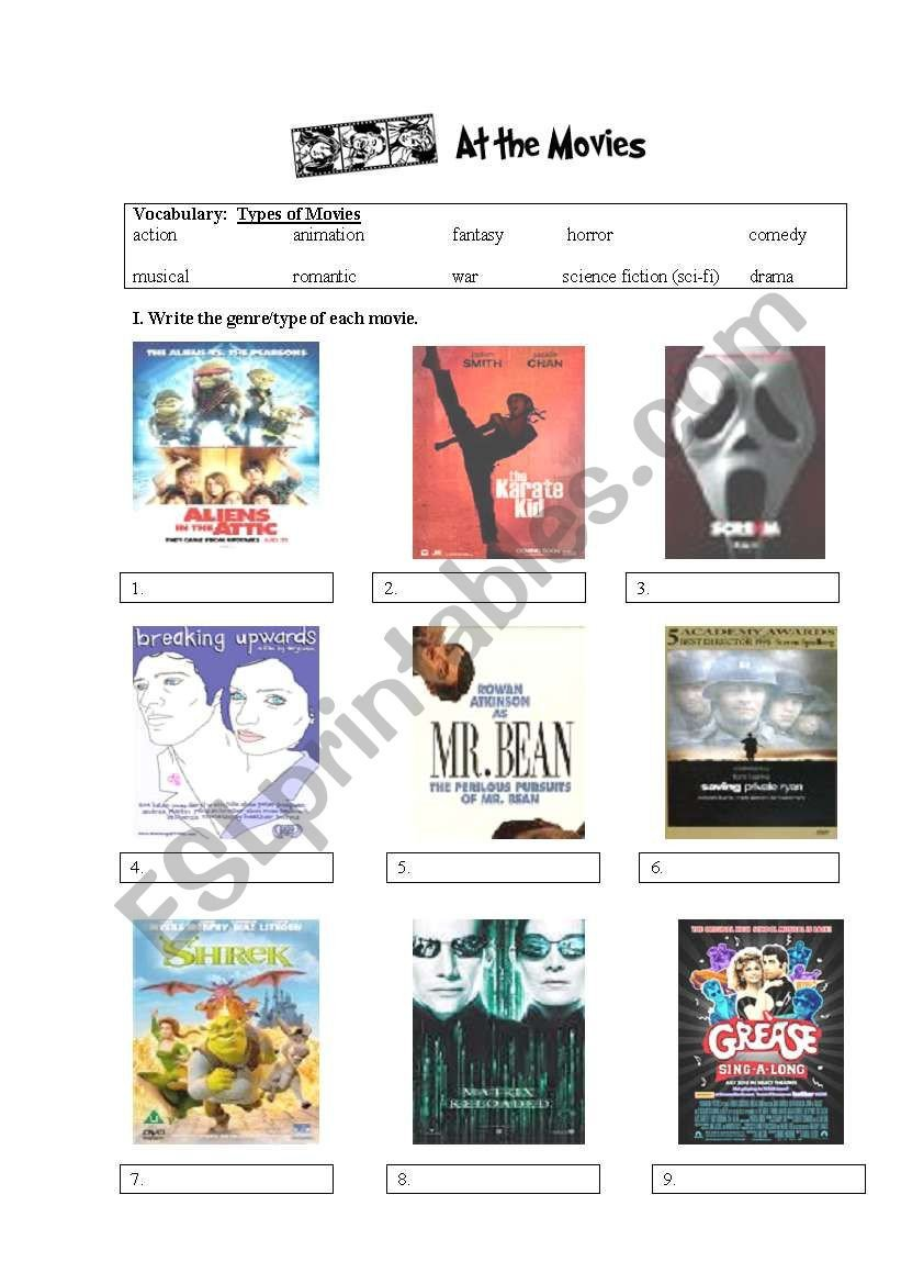 Teaching Genre Worksheets Movie Genres Esl Worksheet by Honey Saju