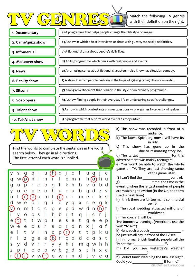 Teaching Genre Worksheets Tv Genres and Words English Esl Worksheets for Distance