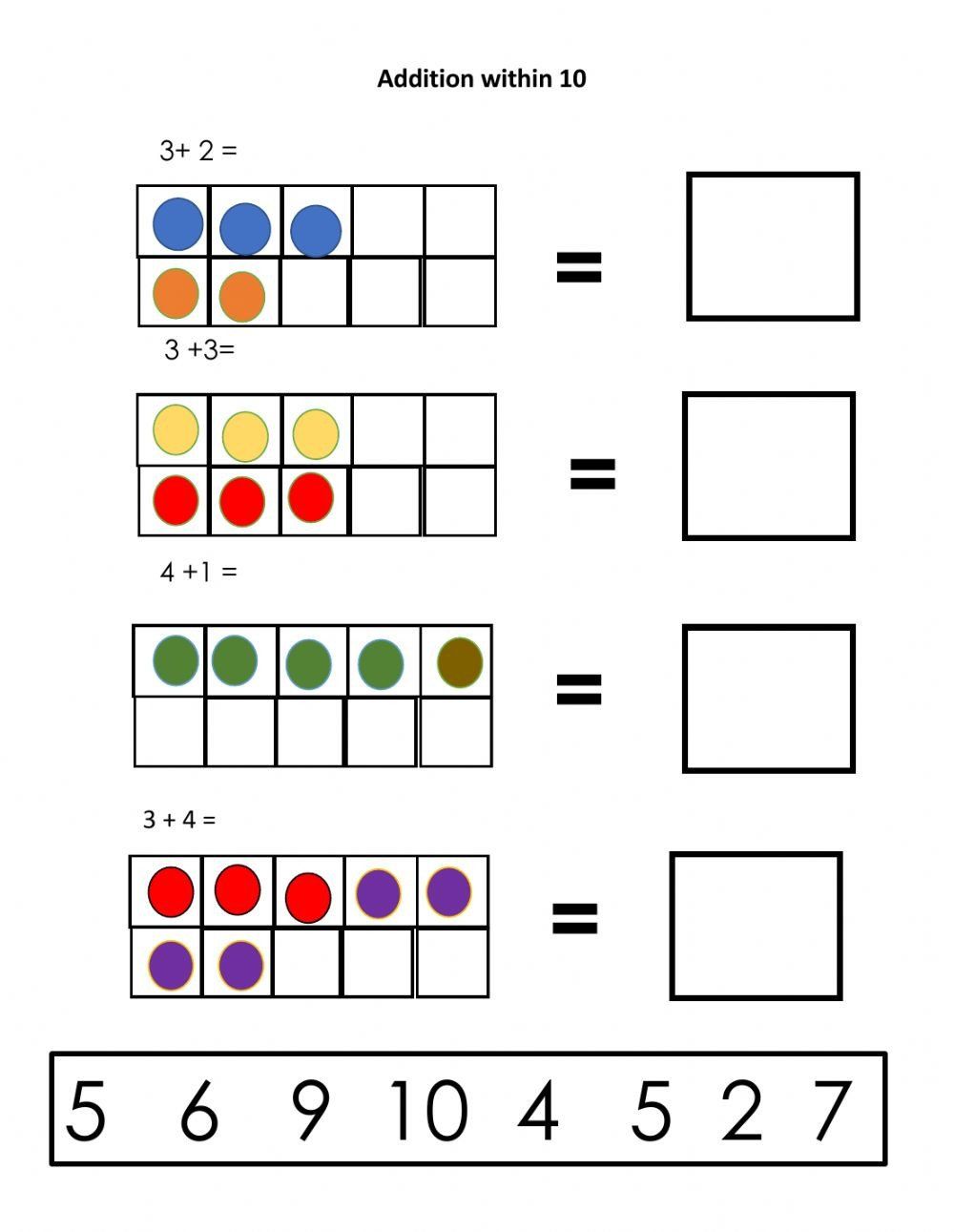 Ten Frame Addition Worksheets Addition Interactive Worksheet