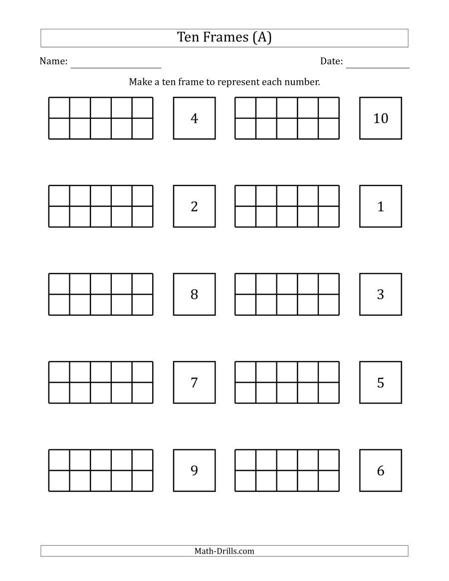 Ten Frame Addition Worksheets Blank Ten Frames with the Numbers In Random order A