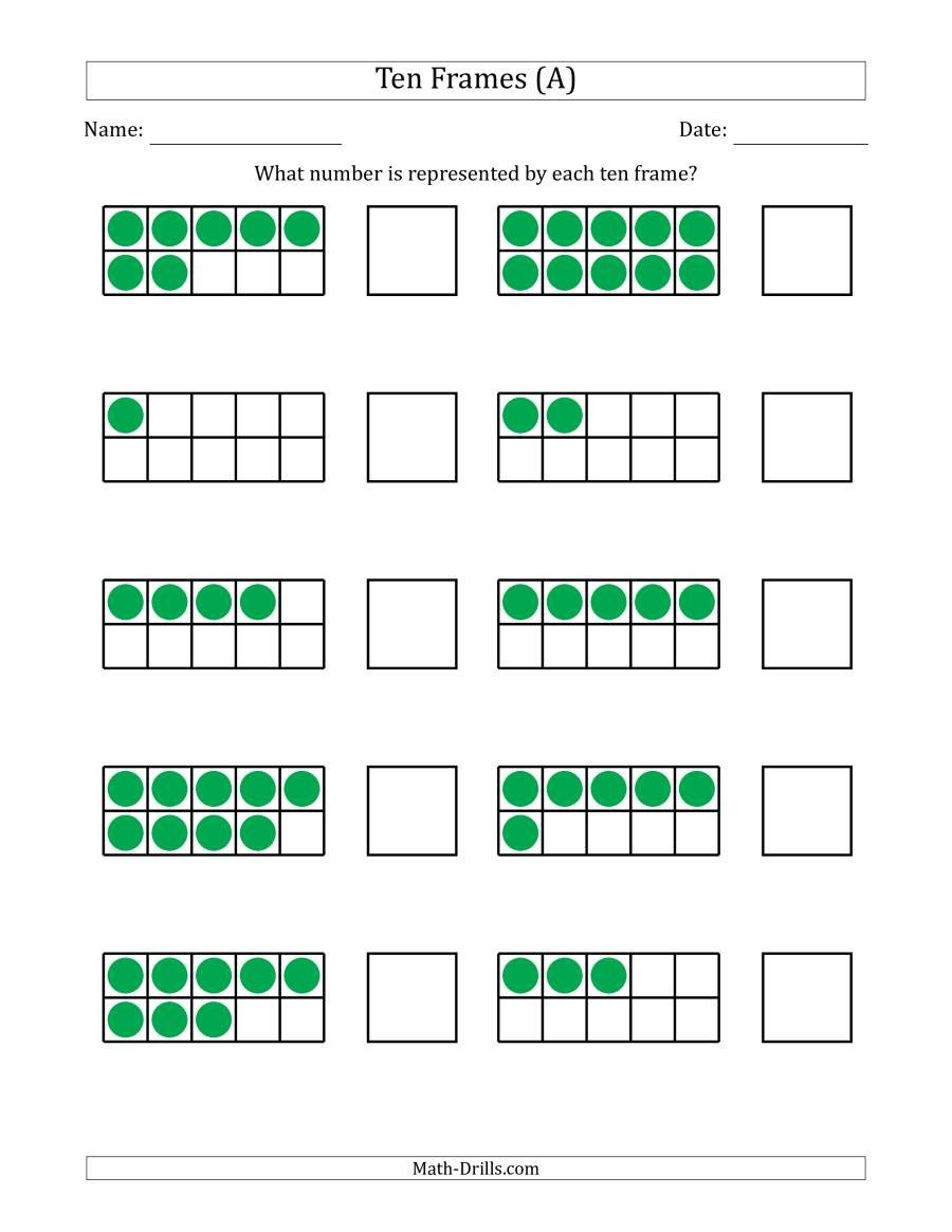 Ten Frame Addition Worksheets Pleted Ten Frames with the Numbers In Random order A