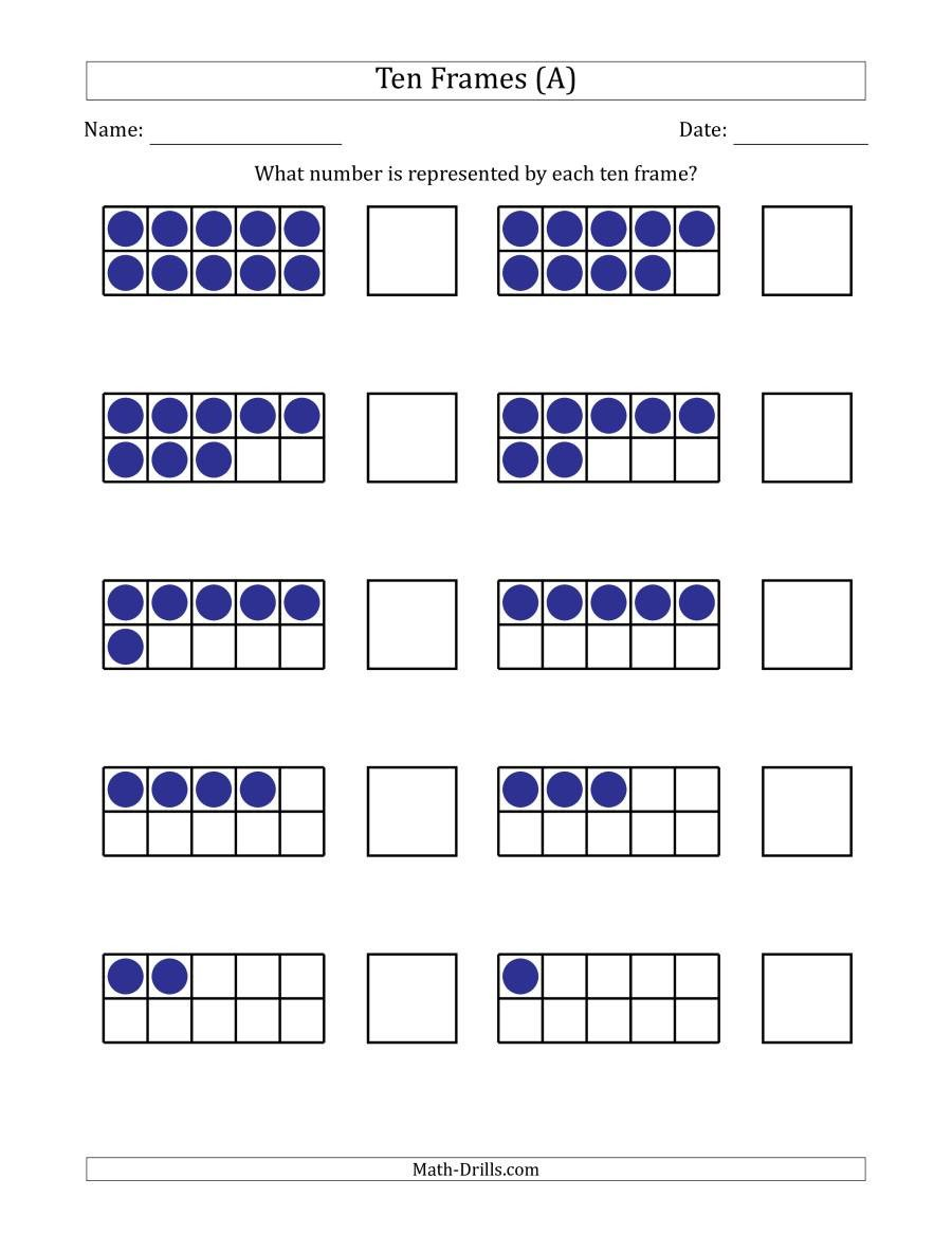 Ten Frame Addition Worksheets Pleted Ten Frames with the Numbers In Reverse order A