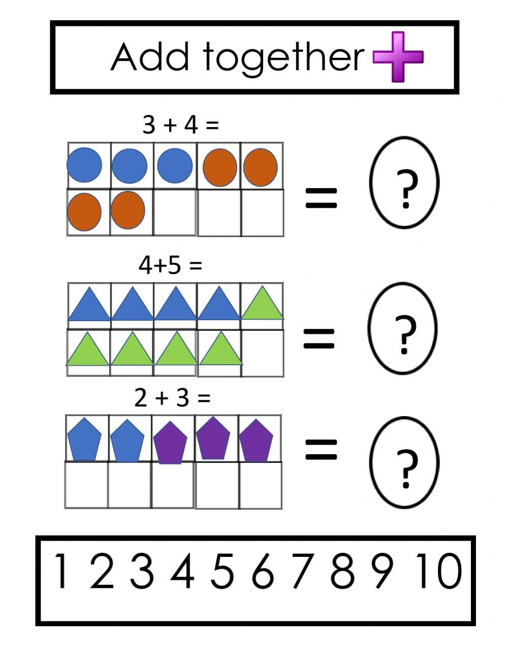 Ten Frame Addition Worksheets Ten Frame Addition Interactive Worksheet