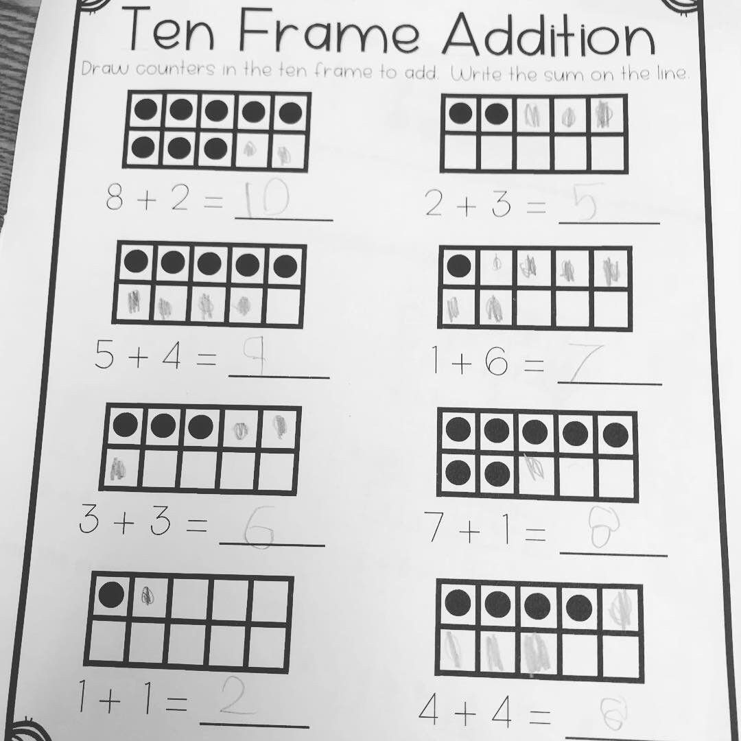 Ten Frame Addition Worksheets Ten Frame and Domino Model Addition Practice for First Grade