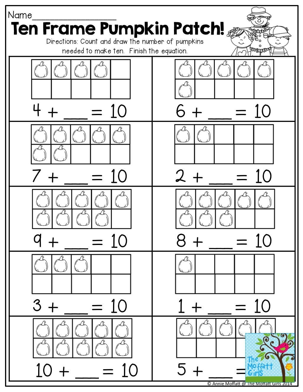 Ten Frame Addition Worksheets Word Problem Examples First Grade Phonics Worksheets 1st