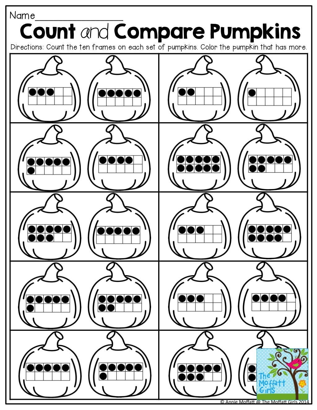 Ten Frame Worksheets First Grade Count and Pare Pumpkins with Ten Frames