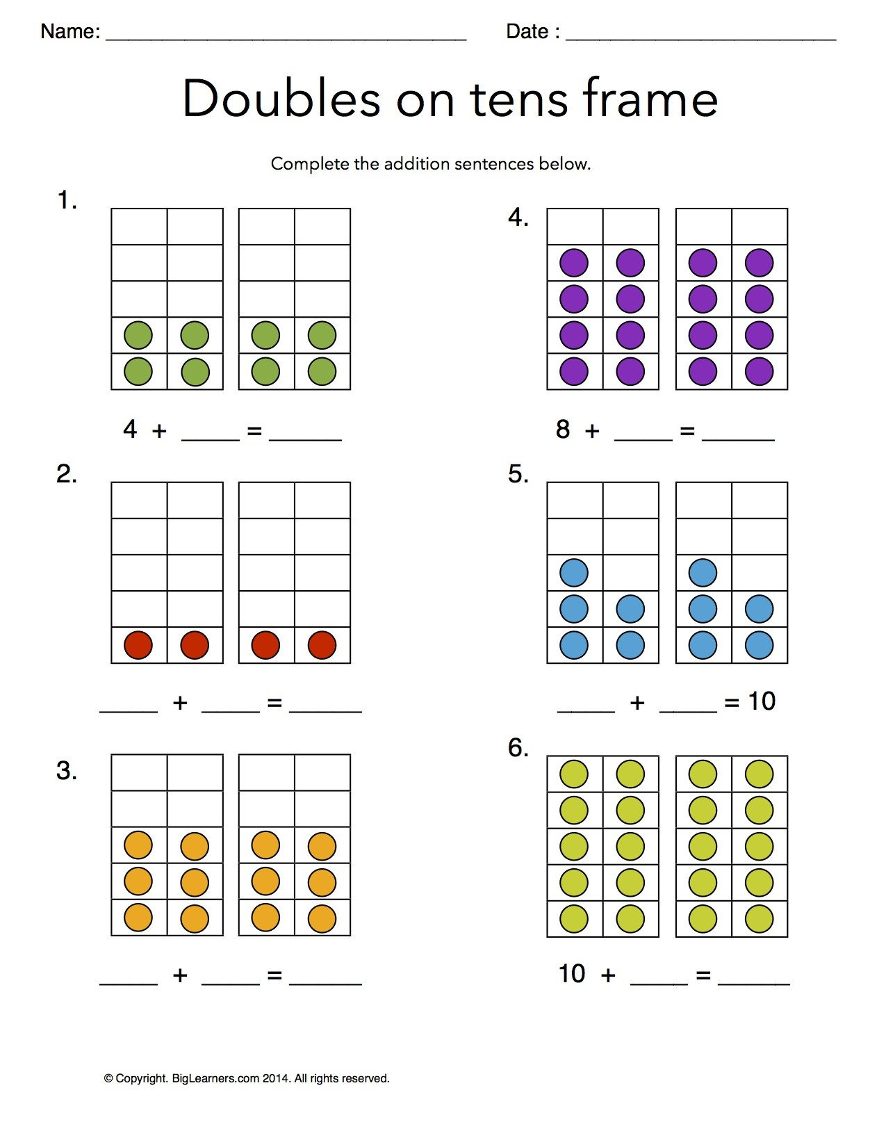 Ten Frame Worksheets First Grade Grade 1 Free Mon Core Math Worksheets