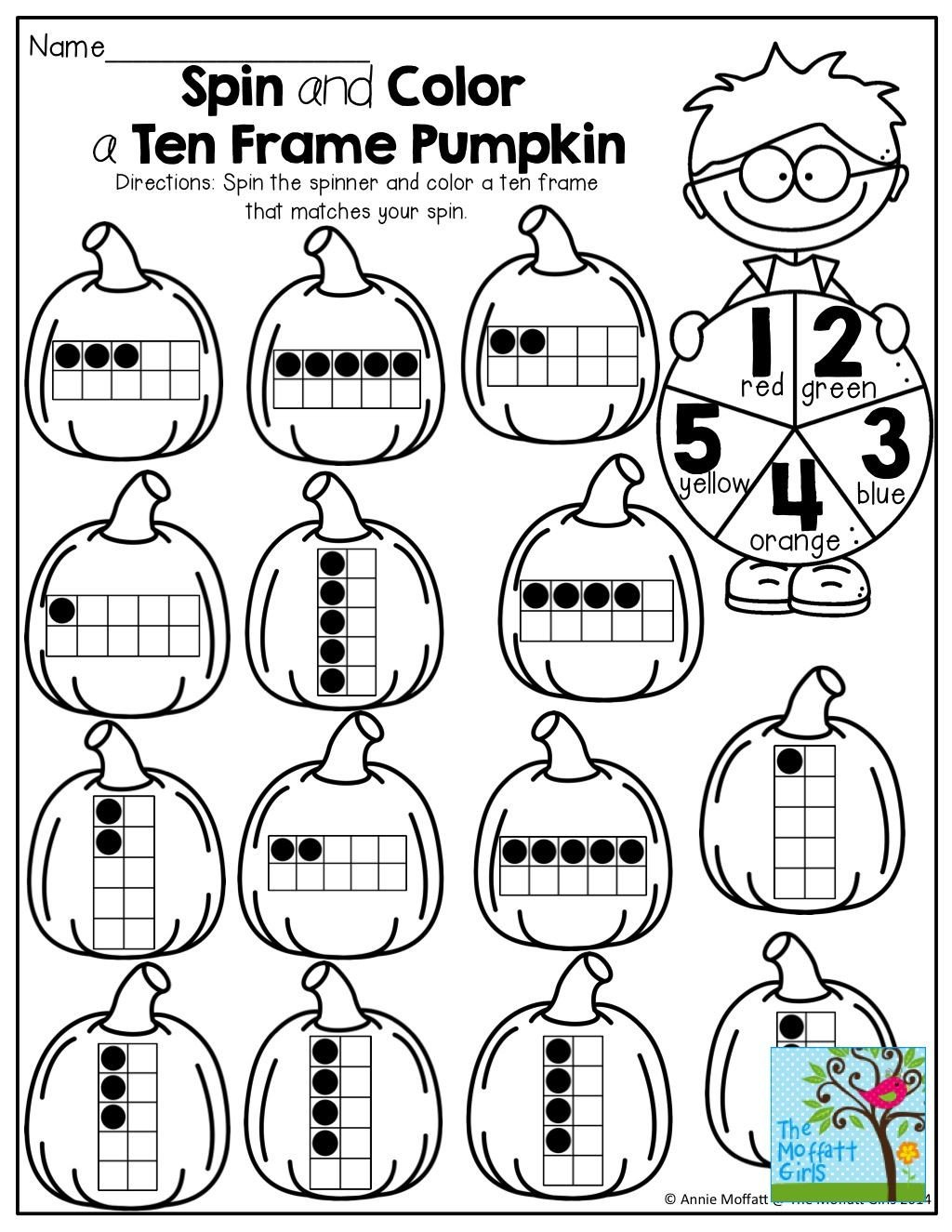 Ten Frame Worksheets First Grade Spin A Paperclip Spinner and Color A Ten Frame to Match so