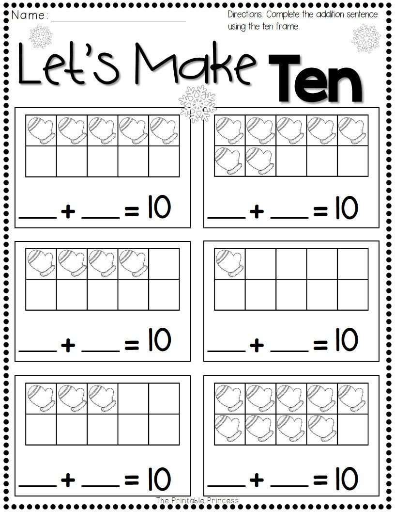 Ten Frame Worksheets First Grade Winter Activities for Kindergarten Free