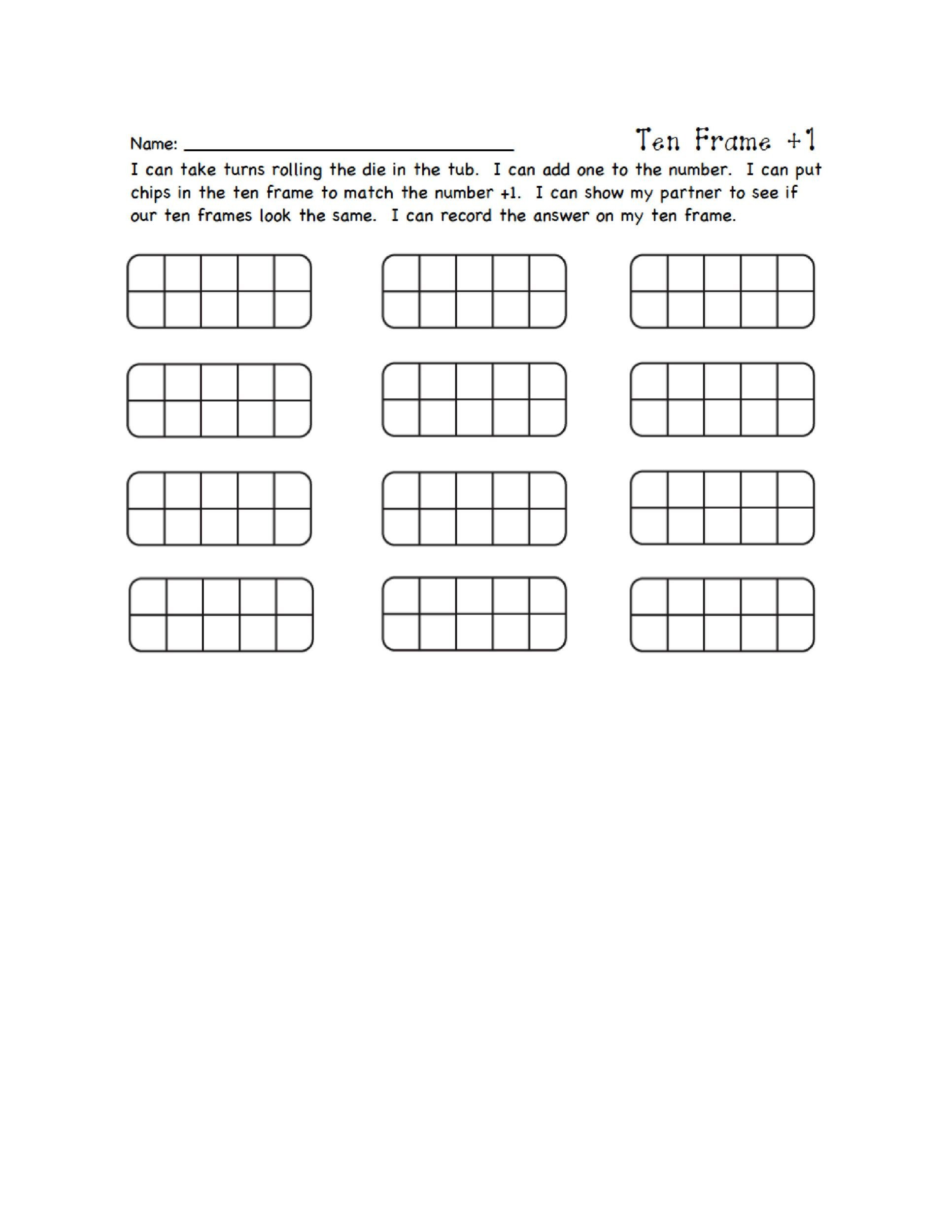 Ten Frame Worksheets Kindergarten 36 Printable Ten Frame Templates Free Templatelab
