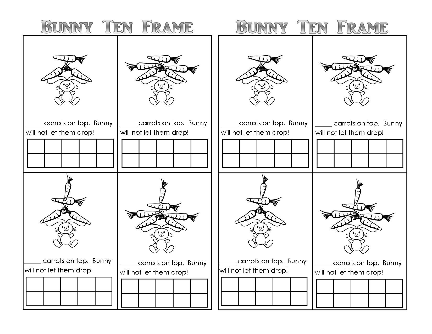 Ten Frame Worksheets Kindergarten Easter Bunny theme Unit Printables Lessons Ideas for