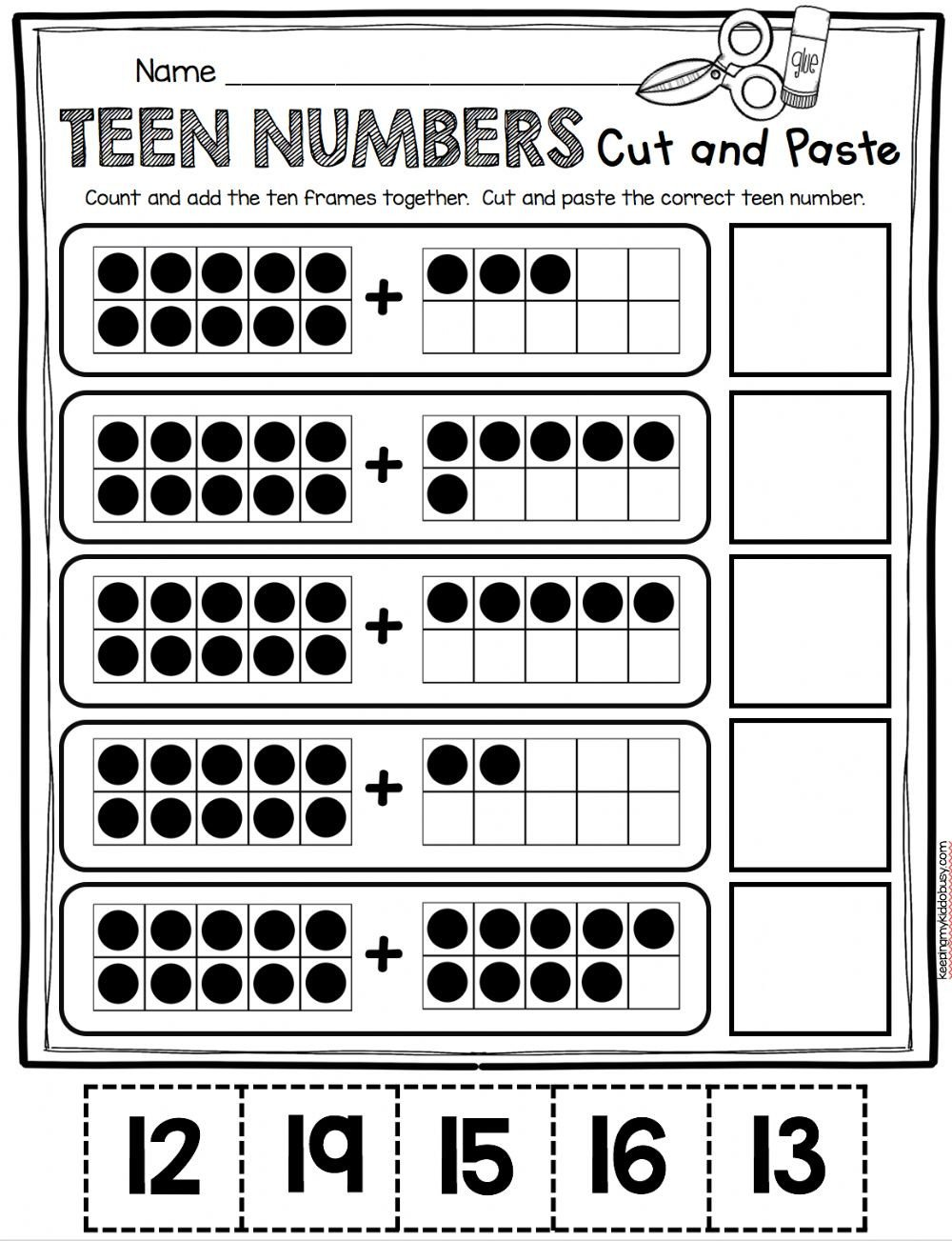 Ten Frame Worksheets Kindergarten Teen Number Cut and Paste Interactive Worksheet