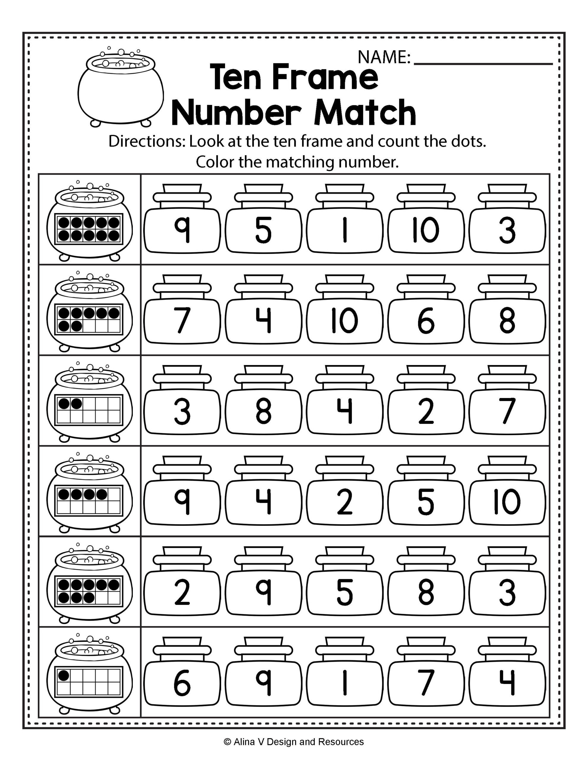 Ten Frame Worksheets Kindergarten Worksheets Halloween Math Literacy Activities for
