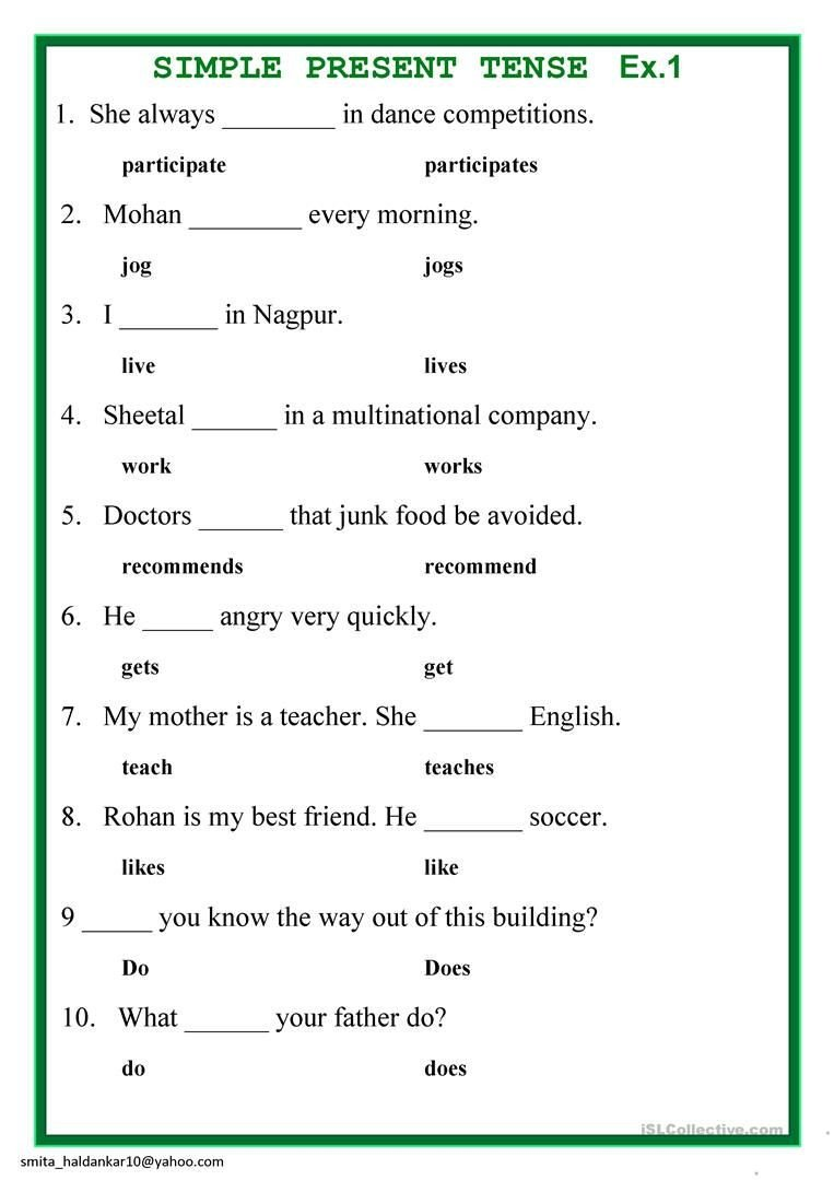 Tense Agreement Worksheet Present Simple Tense English Esl Worksheets for Distance
