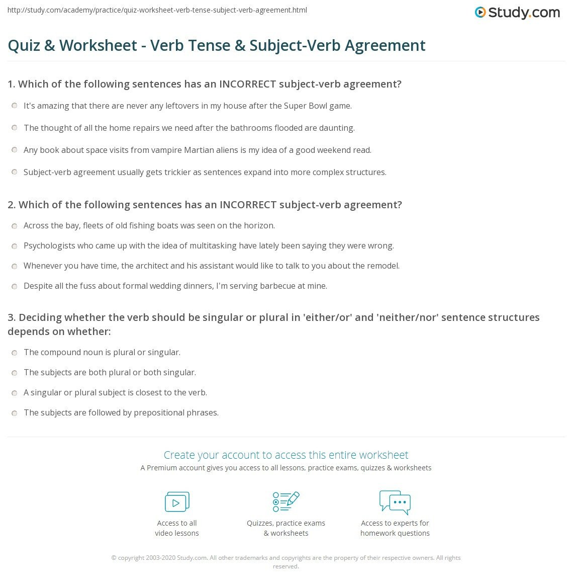 Tense Agreement Worksheet Quiz & Worksheet Verb Tense & Subject Verb Agreement