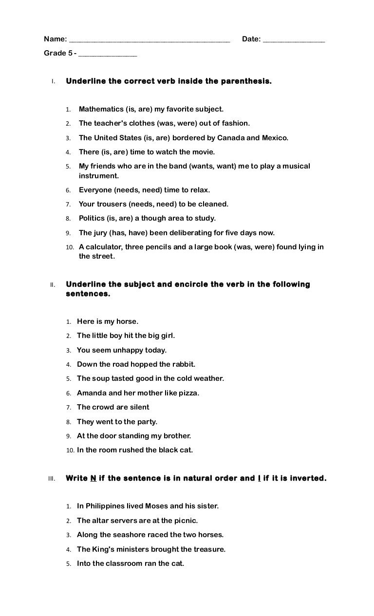 Tense Agreement Worksheet Quiz Grade 5 Subject Verb Agreement