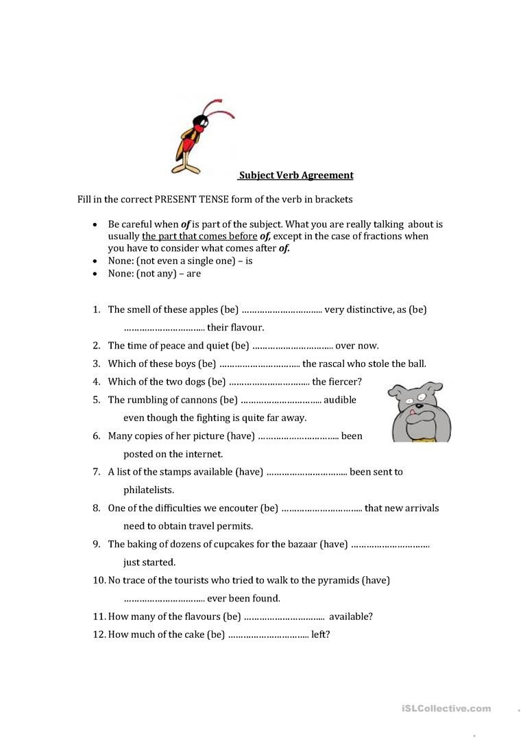 Tense Agreement Worksheet Subject Verb Agreement English Esl Worksheets for Distance