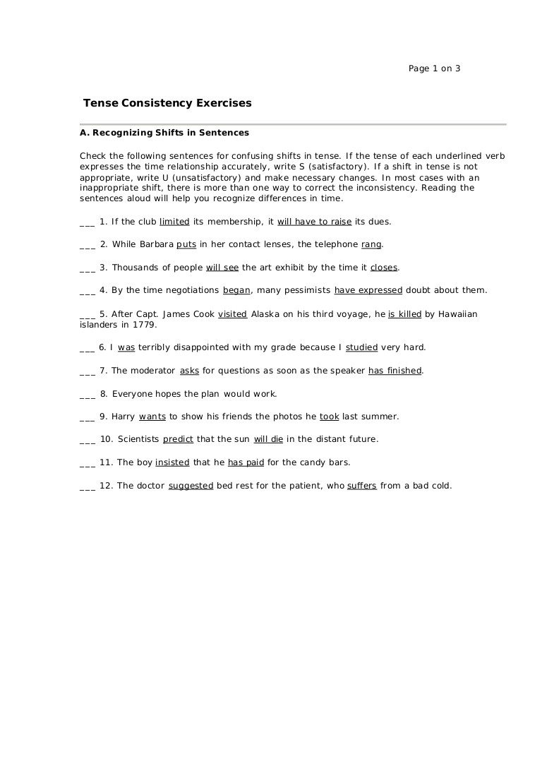 Tense Agreement Worksheet Verb Tense Consistency Exercise 1