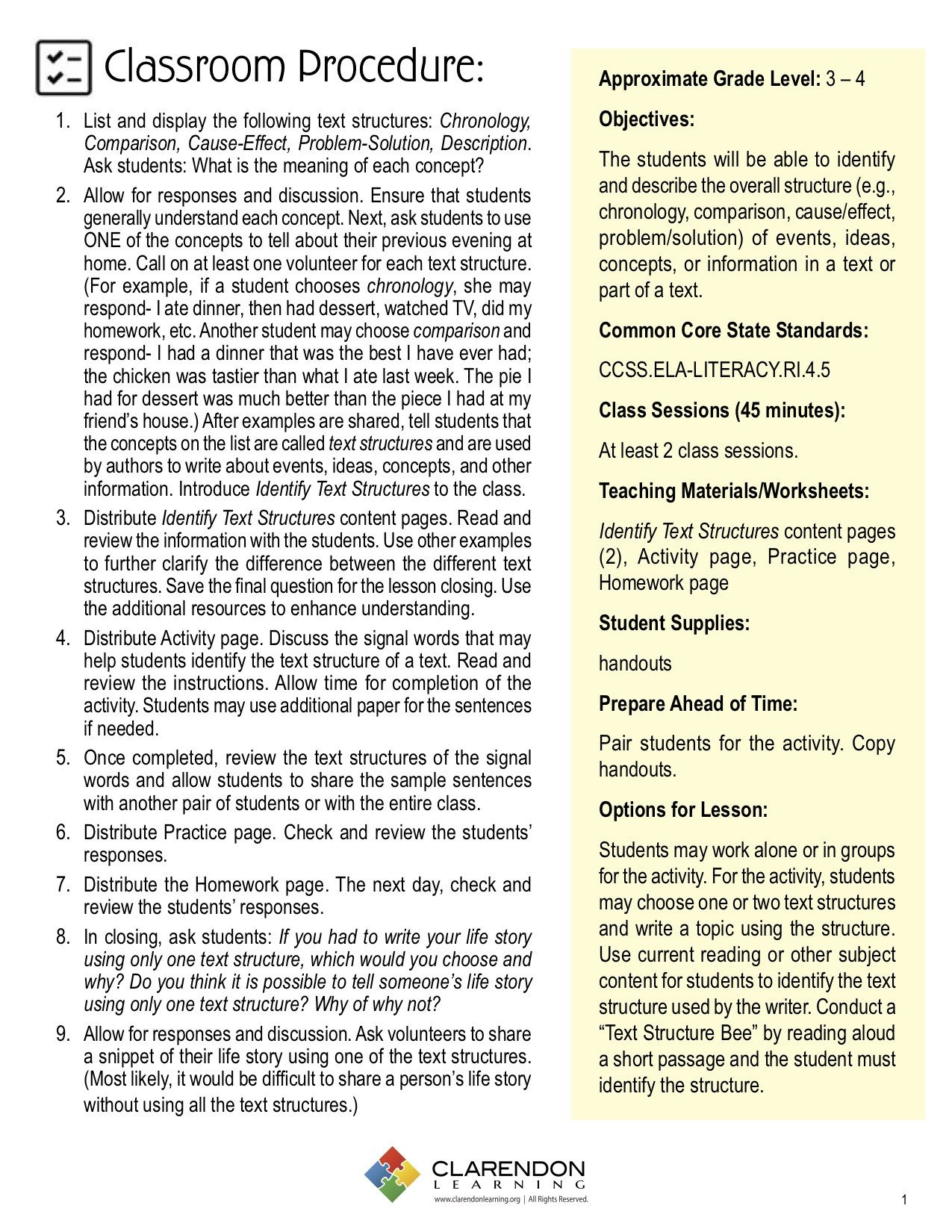 Text Structure 3rd Grade Worksheets Identify Text Structures Lesson Plan