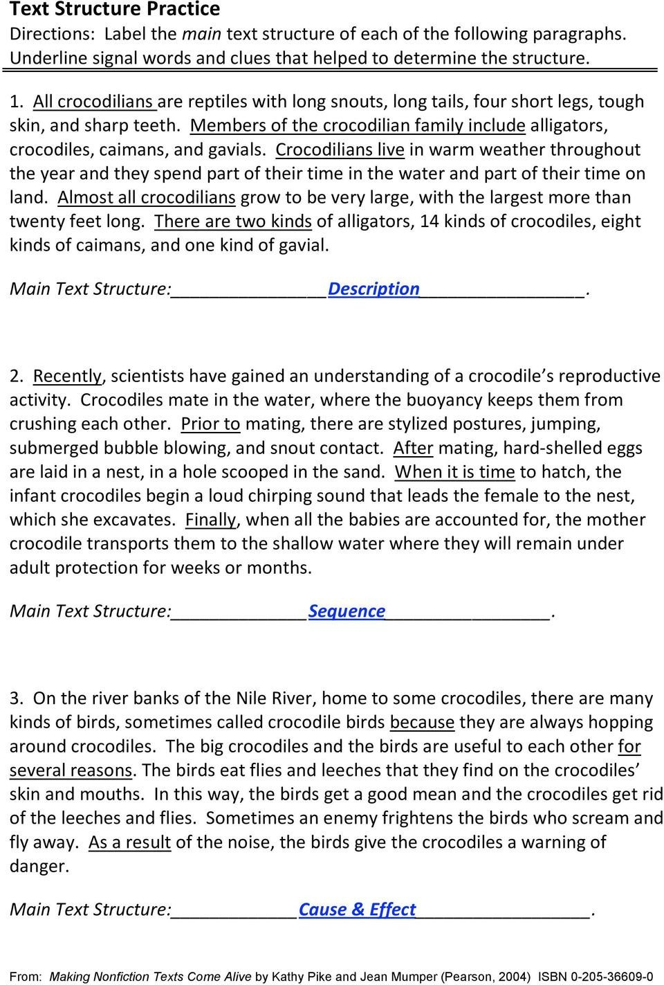 Text Structure Practice Worksheets Identify the Text Structure Of the Following Passages