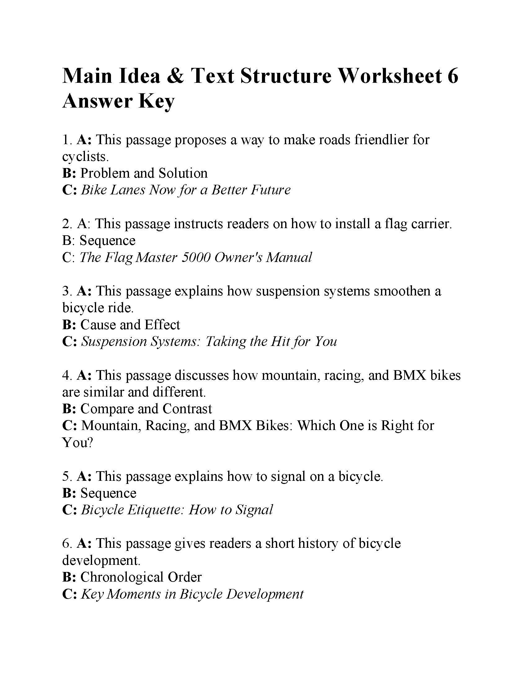 Text Structure Practice Worksheets Main Idea and Text Structure Worksheet 6