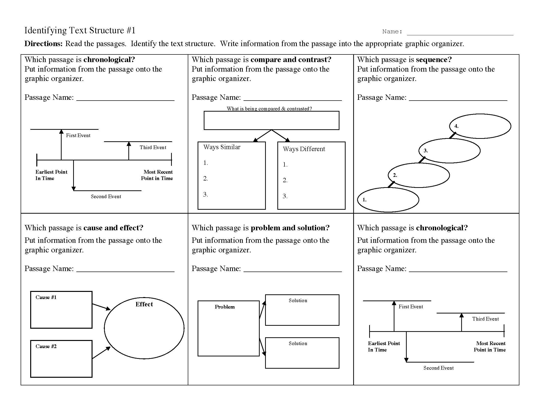 Text Structure Practice Worksheets Text Structure Worksheet 1