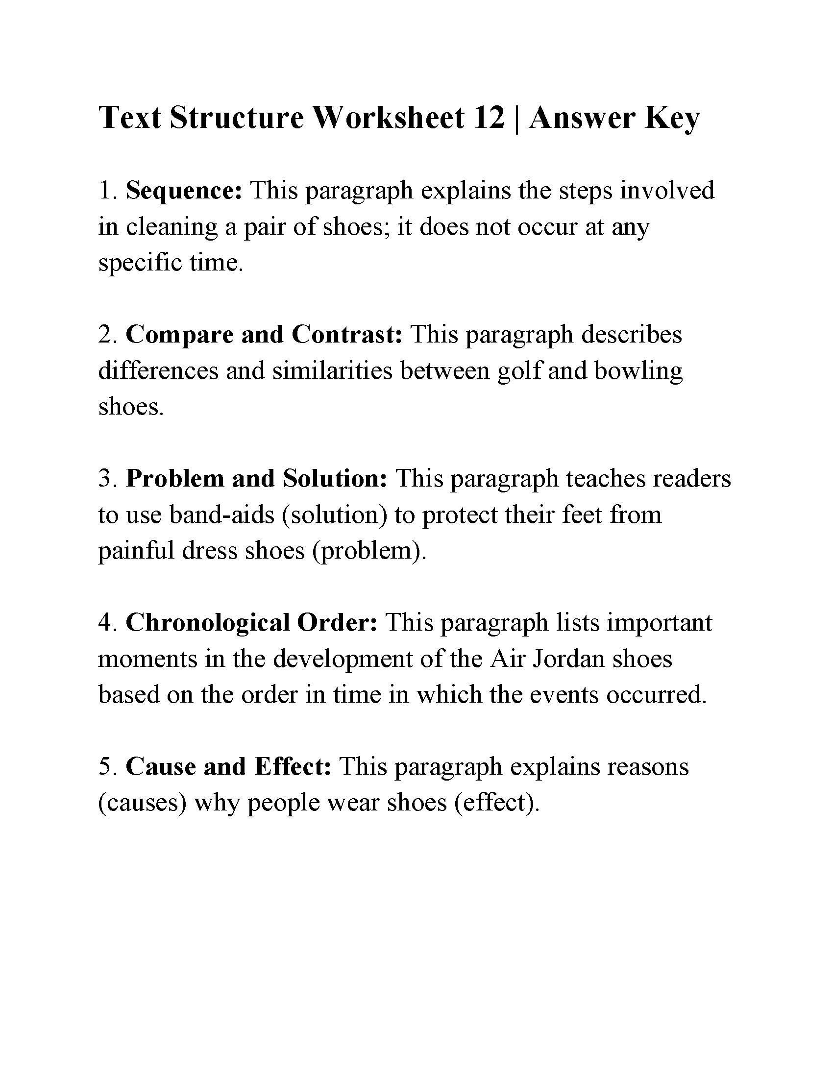 Text Structure Practice Worksheets Text Structure Worksheet 12