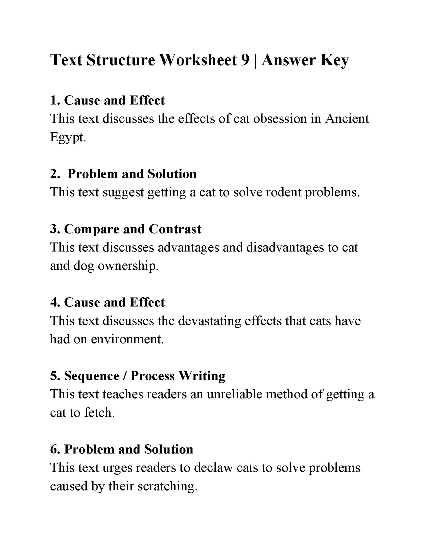 Text Structure Practice Worksheets Text Structure Worksheet 9