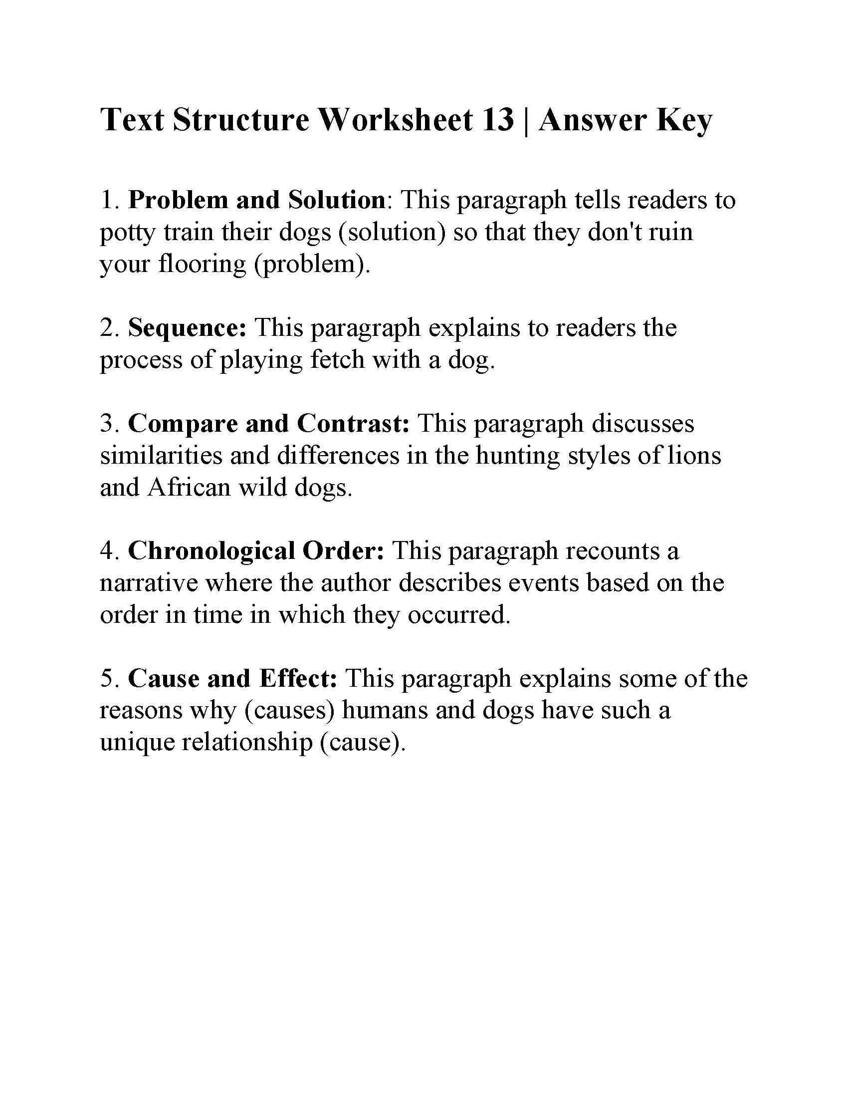 Text Structure Practice Worksheets Text Structure Worksheet Answers Worksheets Matematik Games