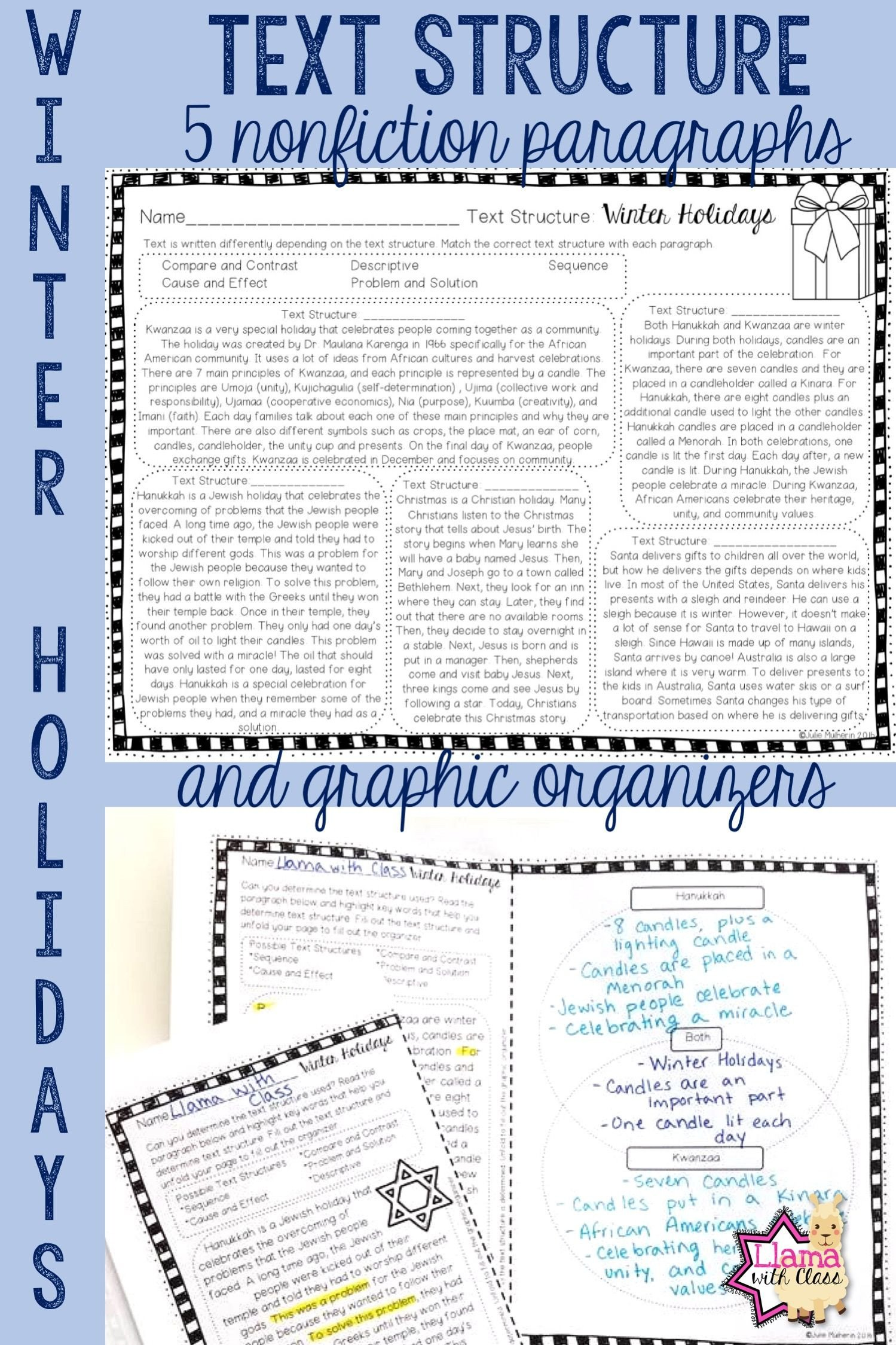 Text Structure Practice Worksheets Winter Holidays Text Structure Worksheets