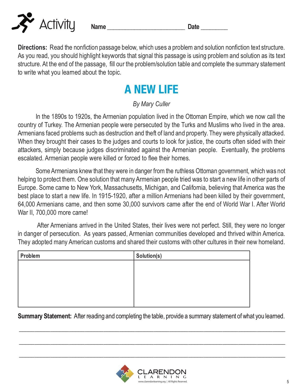 Text Structure Worksheets 3rd Grade Problem and solution Nonfiction Text Structure