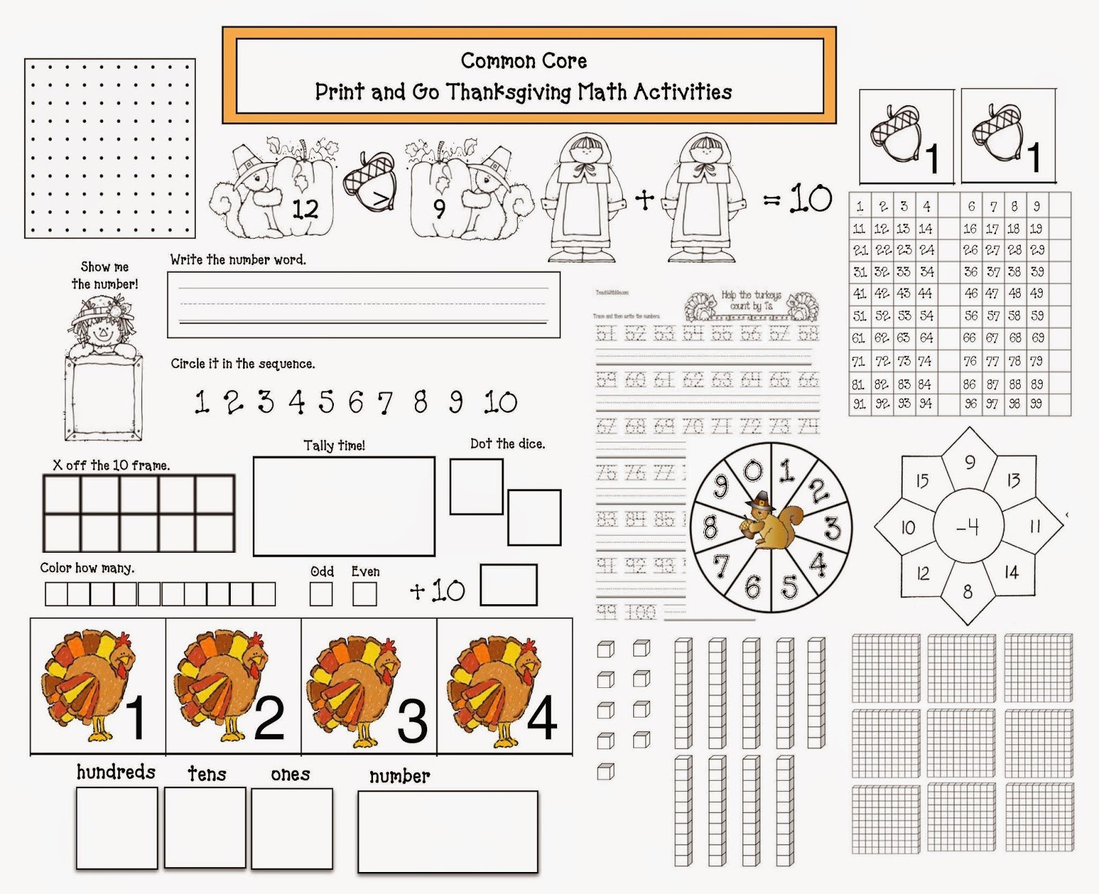Thanksgiving Math Worksheets First Grade Mon Core Thanksgiving Math Packet Classroom Freebies
