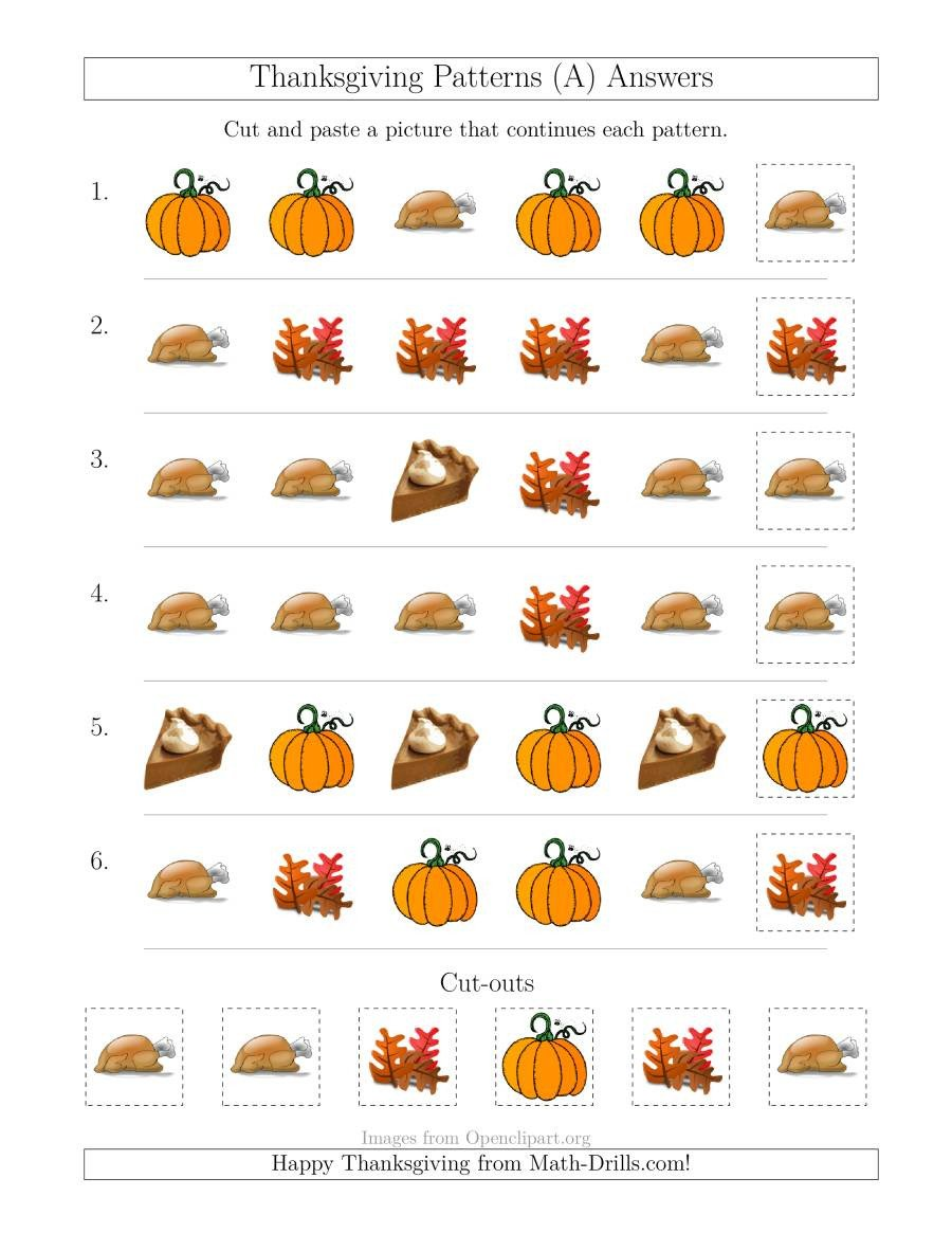 Thanksgiving Pattern Worksheets Thanksgiving Picture Patterns with Shape attribute Ly A