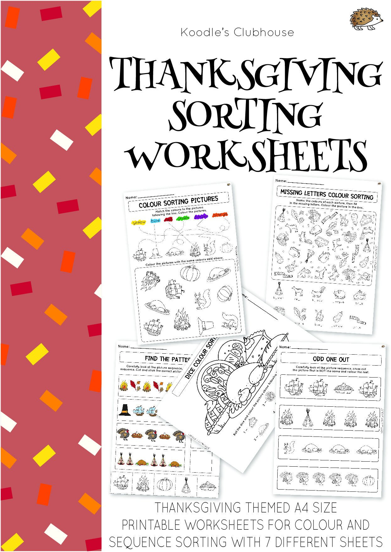 Thanksgiving Pattern Worksheets Thanksgiving sorting Worksheets