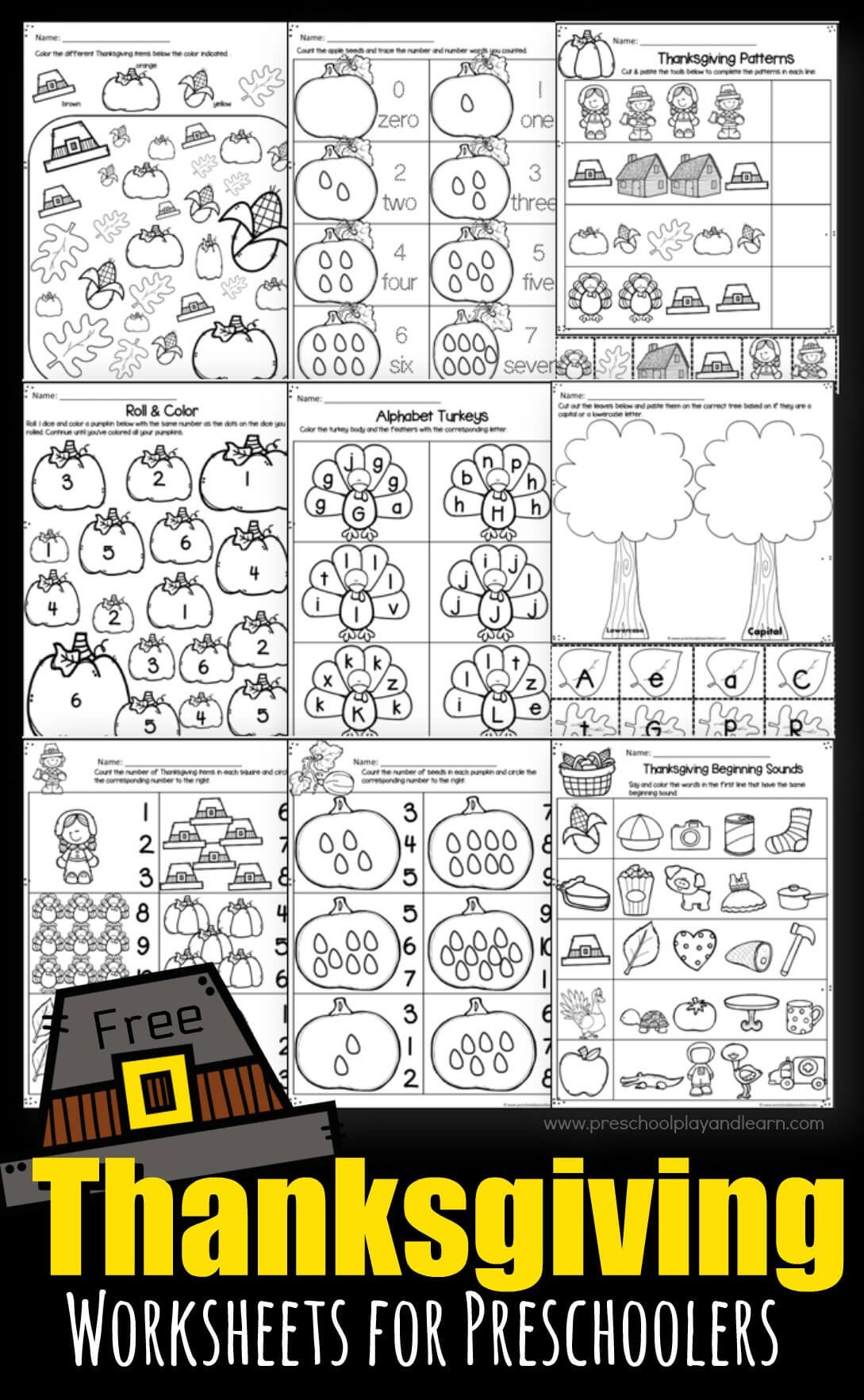 Thanksgiving Pattern Worksheets Thanksgiving Worksheets for Preschoolers