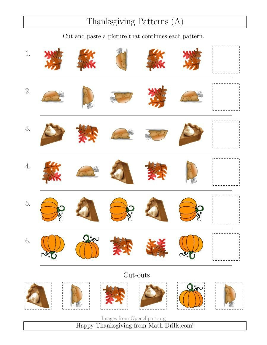 Thanksgiving Pattern Worksheets the Thanksgiving Picture Patterns with Shape and Rotation