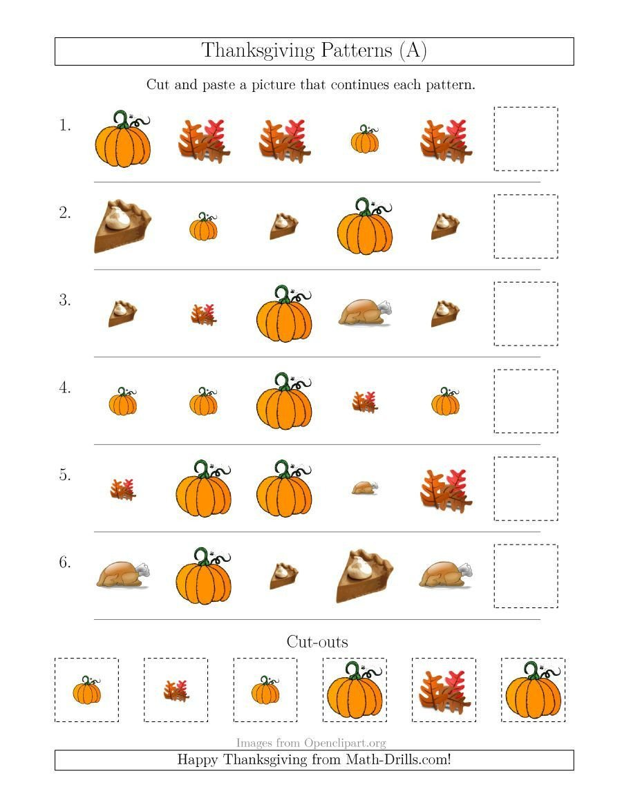 Thanksgiving Pattern Worksheets the Thanksgiving Picture Patterns with Size and Shape