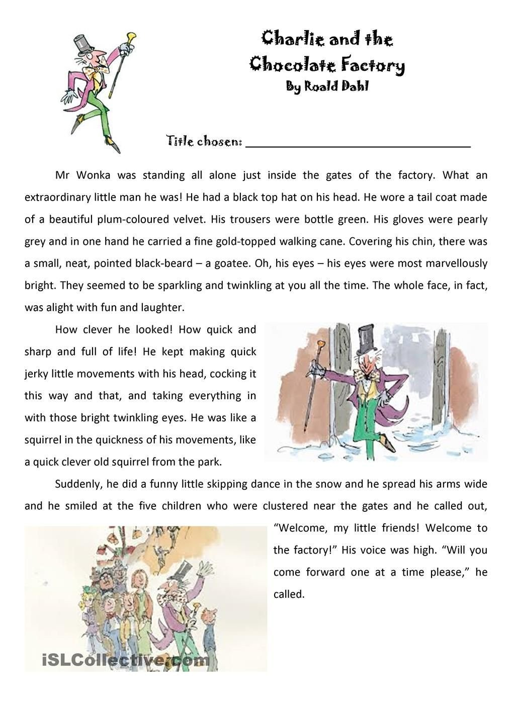 The Clever Factory Worksheets Roald Dahl Charlie and the Chocolate Factory Extract