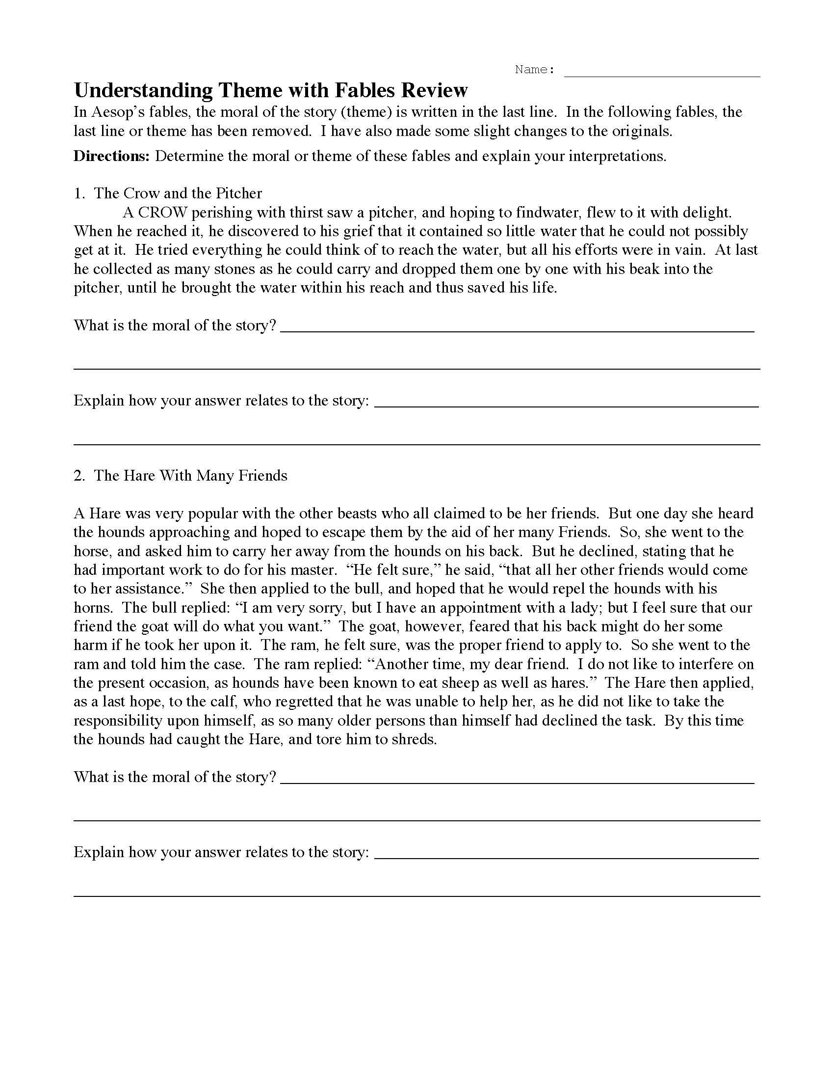 Theme Worksheet Middle School theme or Author S Message Worksheets