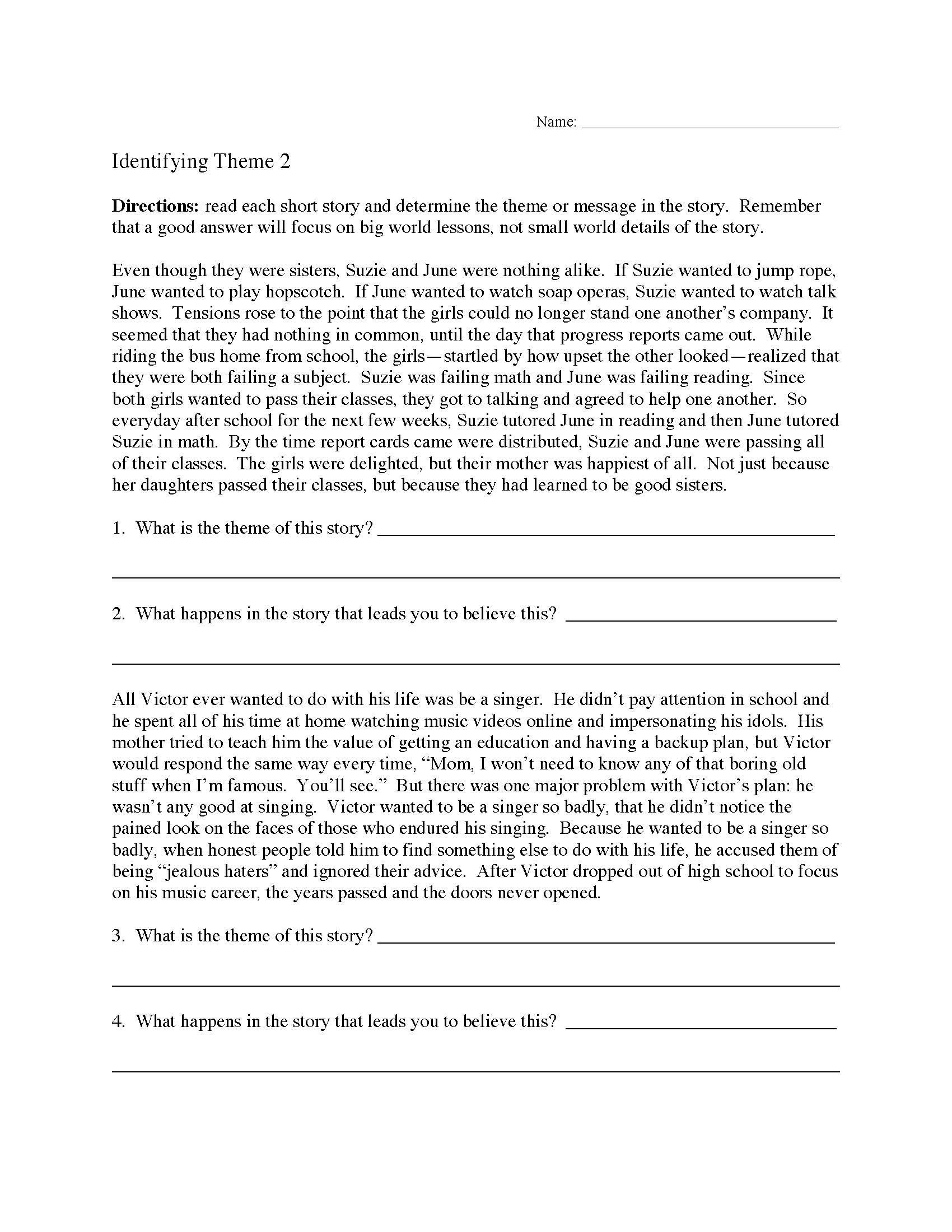 Theme Worksheets for Middle School theme or Author S Message Worksheets
