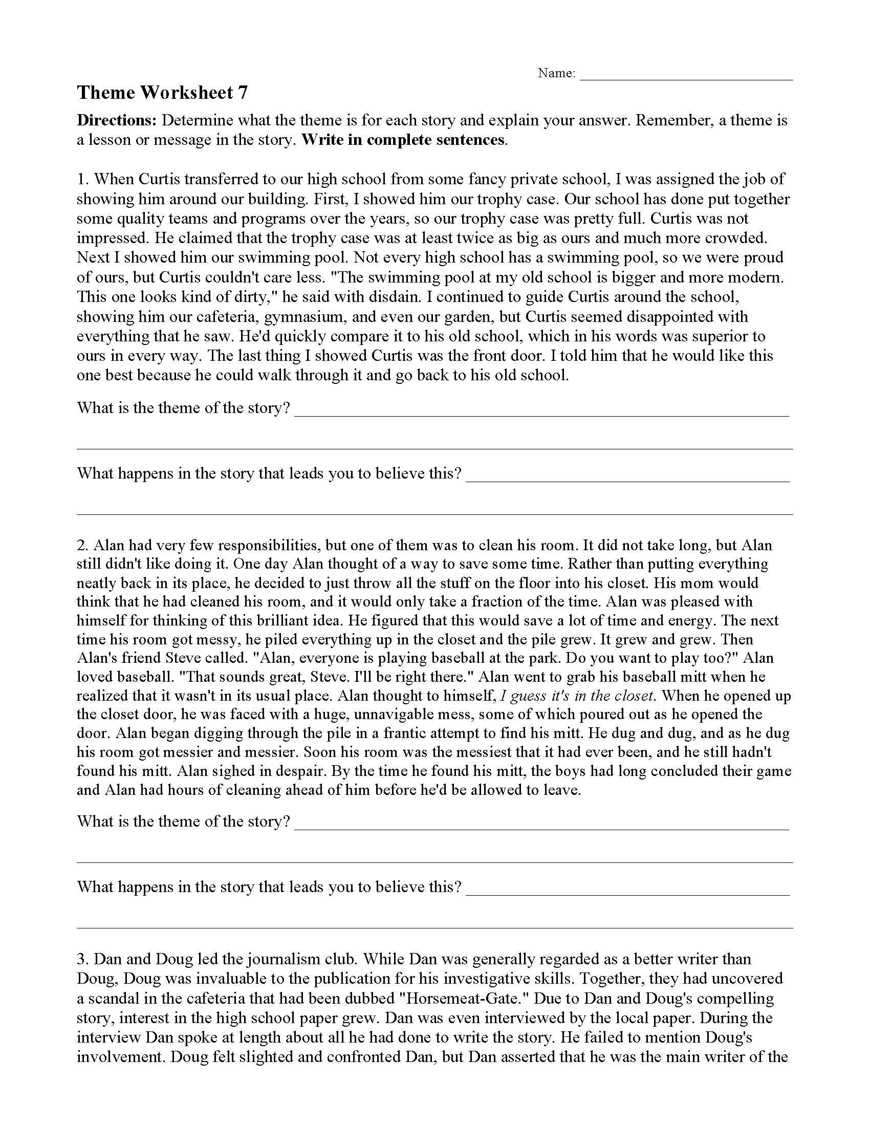 Theme or Author s Message Worksheets