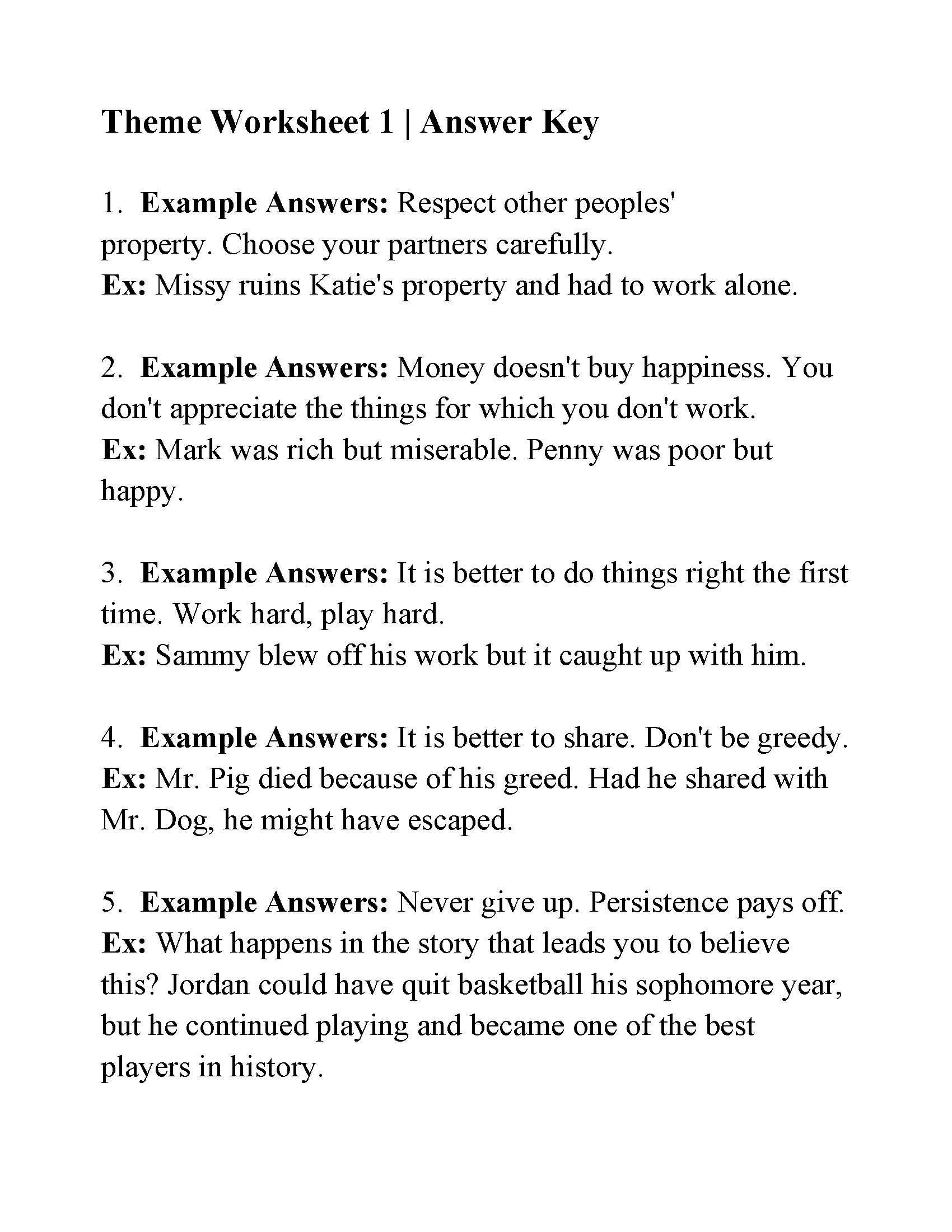 Theme Worksheets for Middle School This is the Answer Key for the theme Worksheet 1
