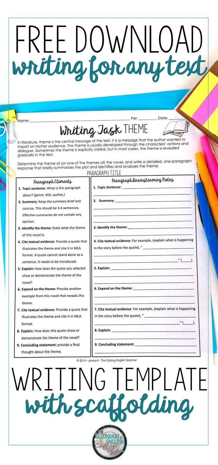 Theme Worksheets High School Free theme Writing Lesson and Scaffolded organizer This