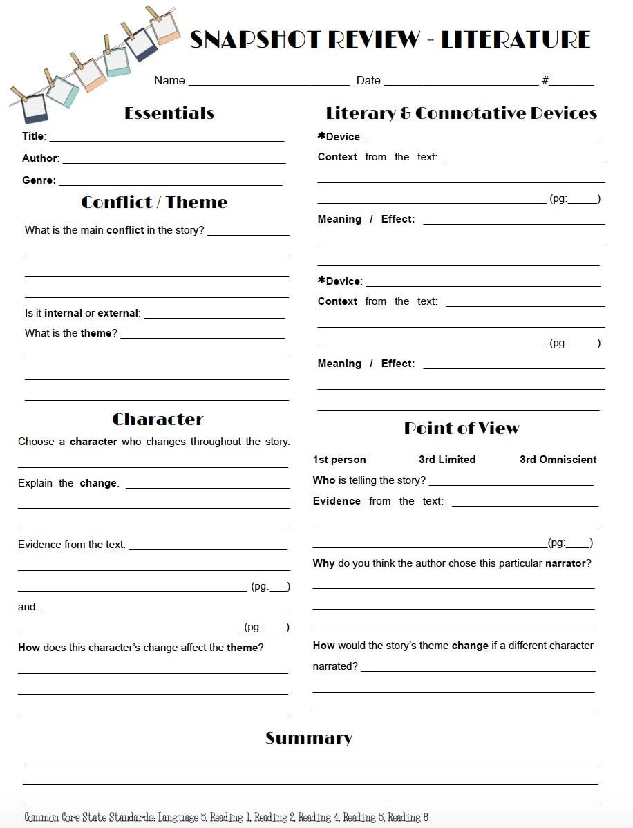 Theme Worksheets High School Review Literature In A Snap with This One Page Worksheet