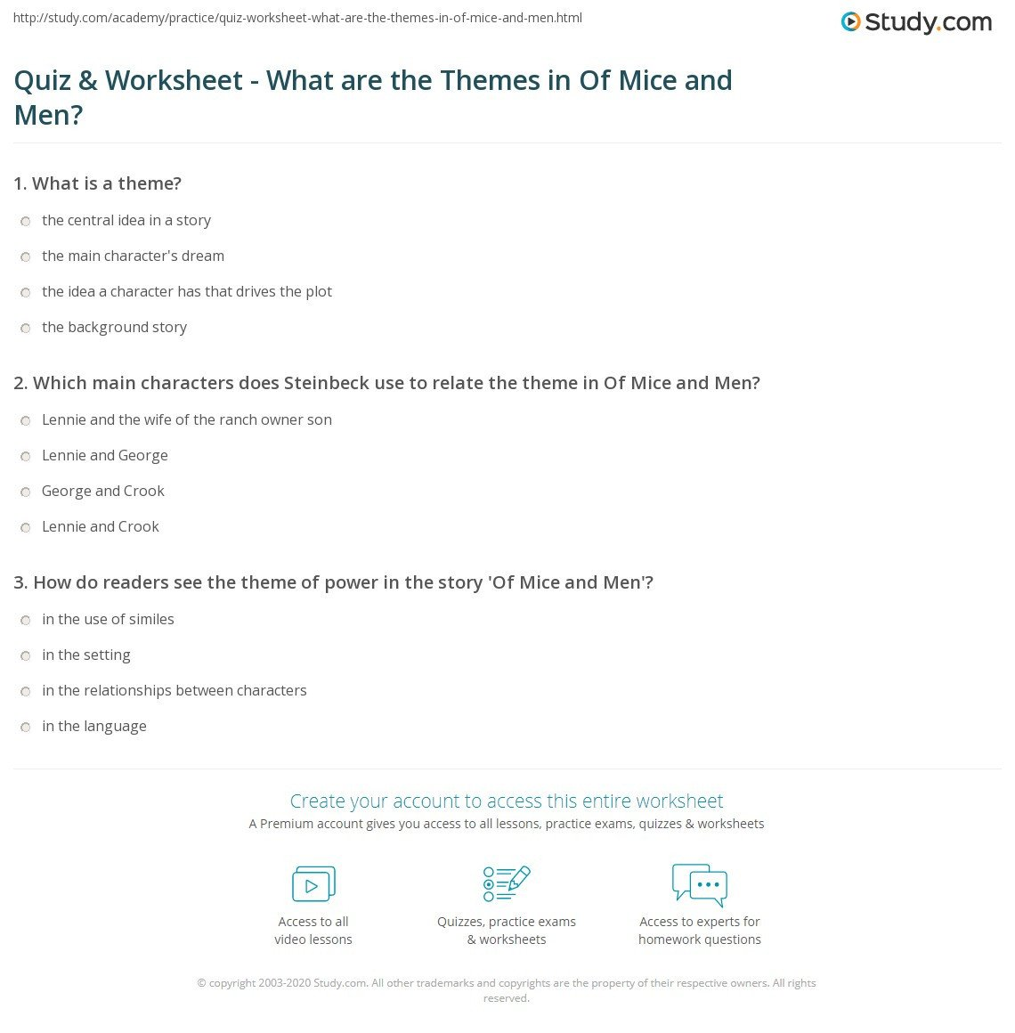 Theme Worksheets Middle School Quiz Worksheet are the themes In Mice and Men Study