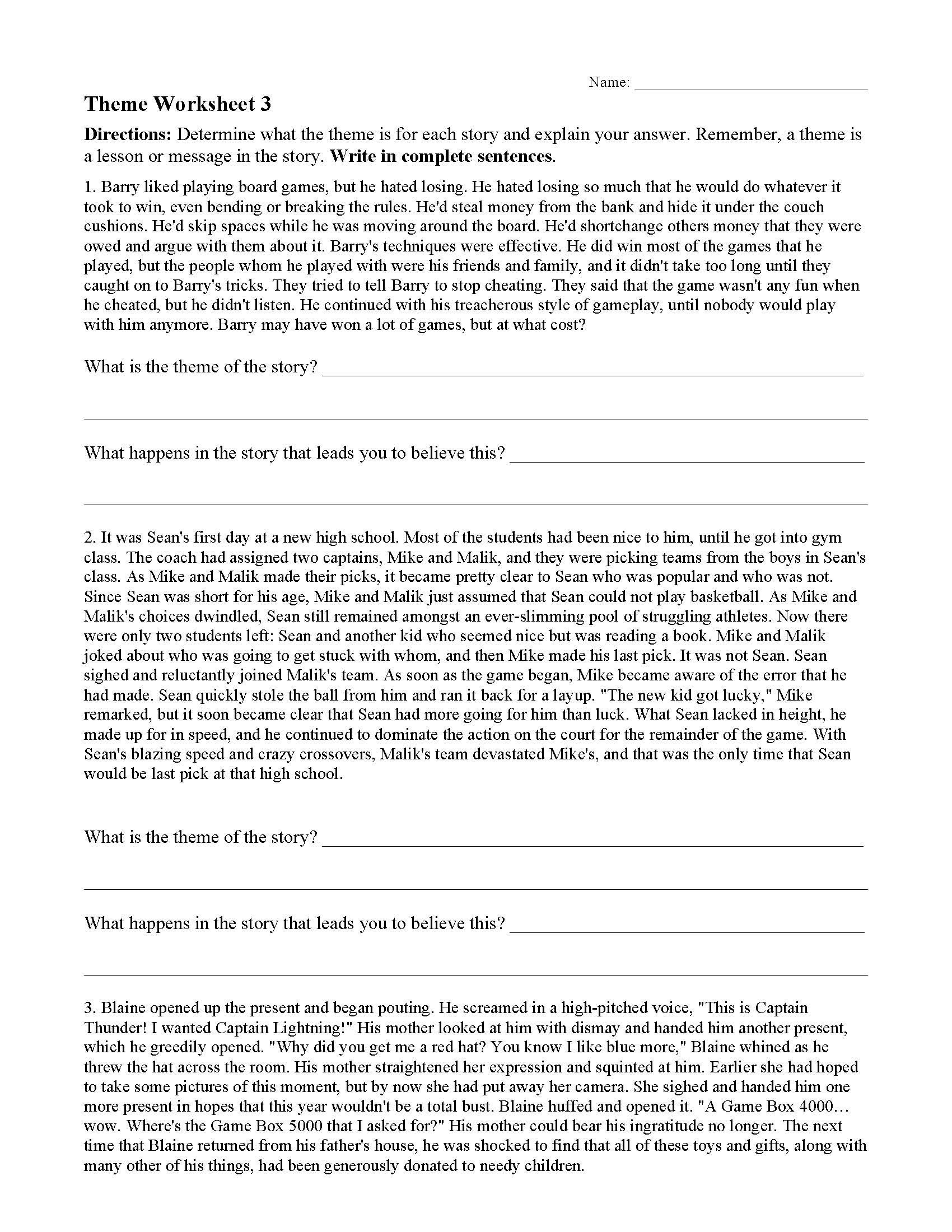 theme worksheet 03 01