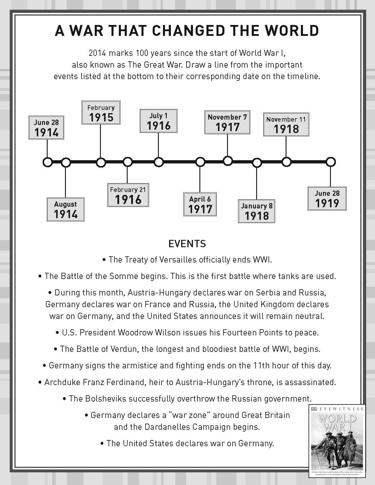 Timeline Worksheets for 1st Grade Activity Sheet World War History Worksheets for Kids Free