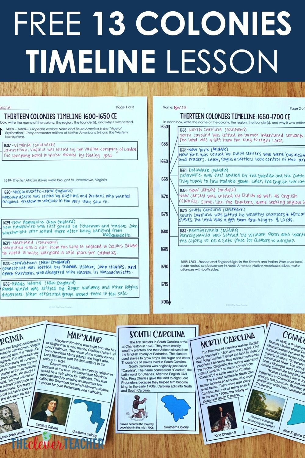 Timeline Worksheets for Middle School Free 13 Colonies Timeline Lesson