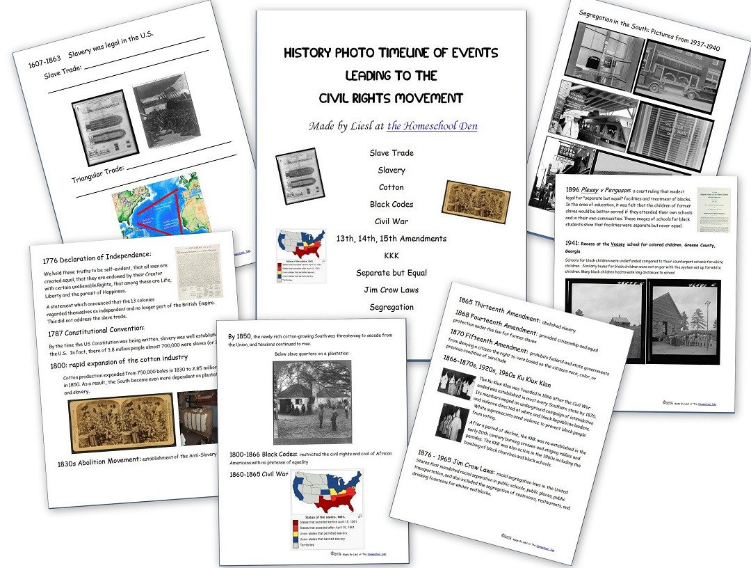 Timeline Worksheets for Middle School Free Civil Rights Packet Timeline Of events Leading to the